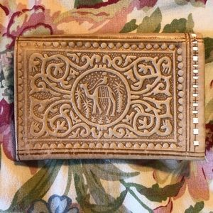 VINTAGE Tooled Leather Camel EGYPT Billfold Handma